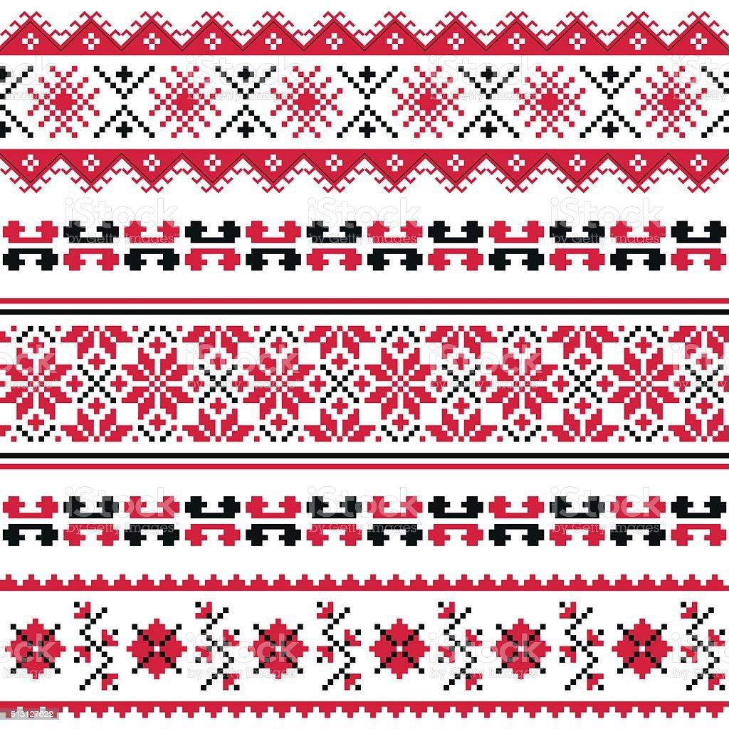 Ukrainian folk art embroidery pattern or print vector art illustration