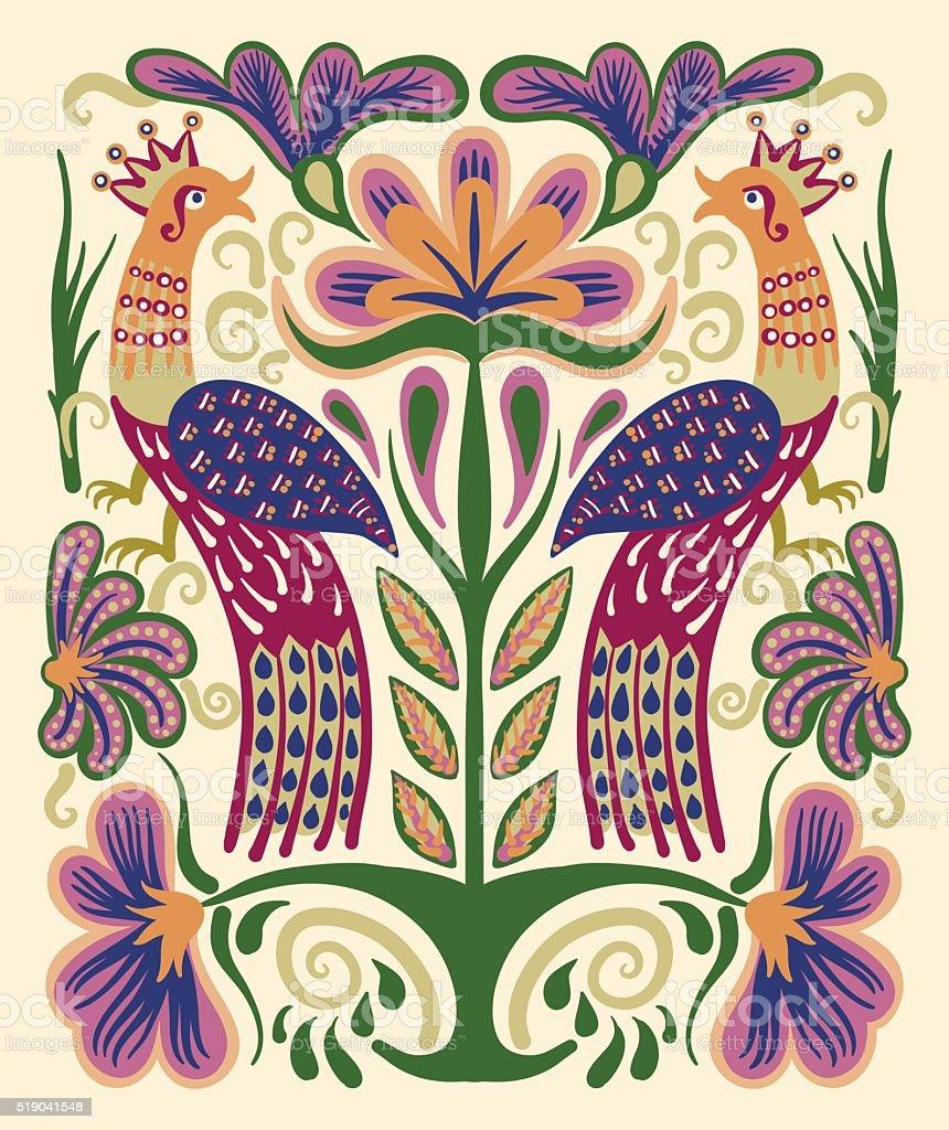 ukrainian hand drawn ethnic decorative pattern with two birds an vector art illustration