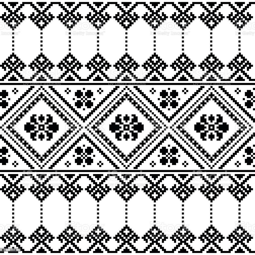 Ukrainian or Belarusian folk art black floral embroidery pattern or print vector art illustration