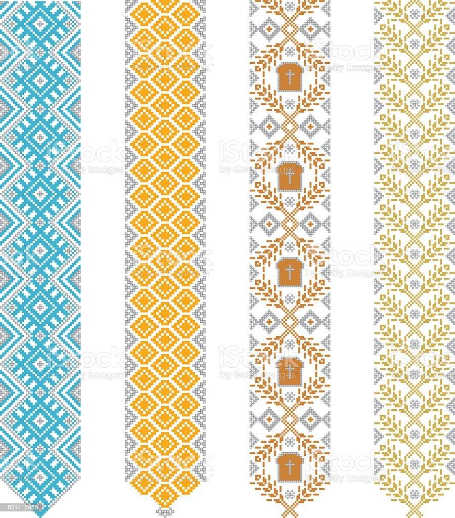 Ukrainian, Slavic, Belarusian traditional seamless folk embroidery pattern vector art illustration