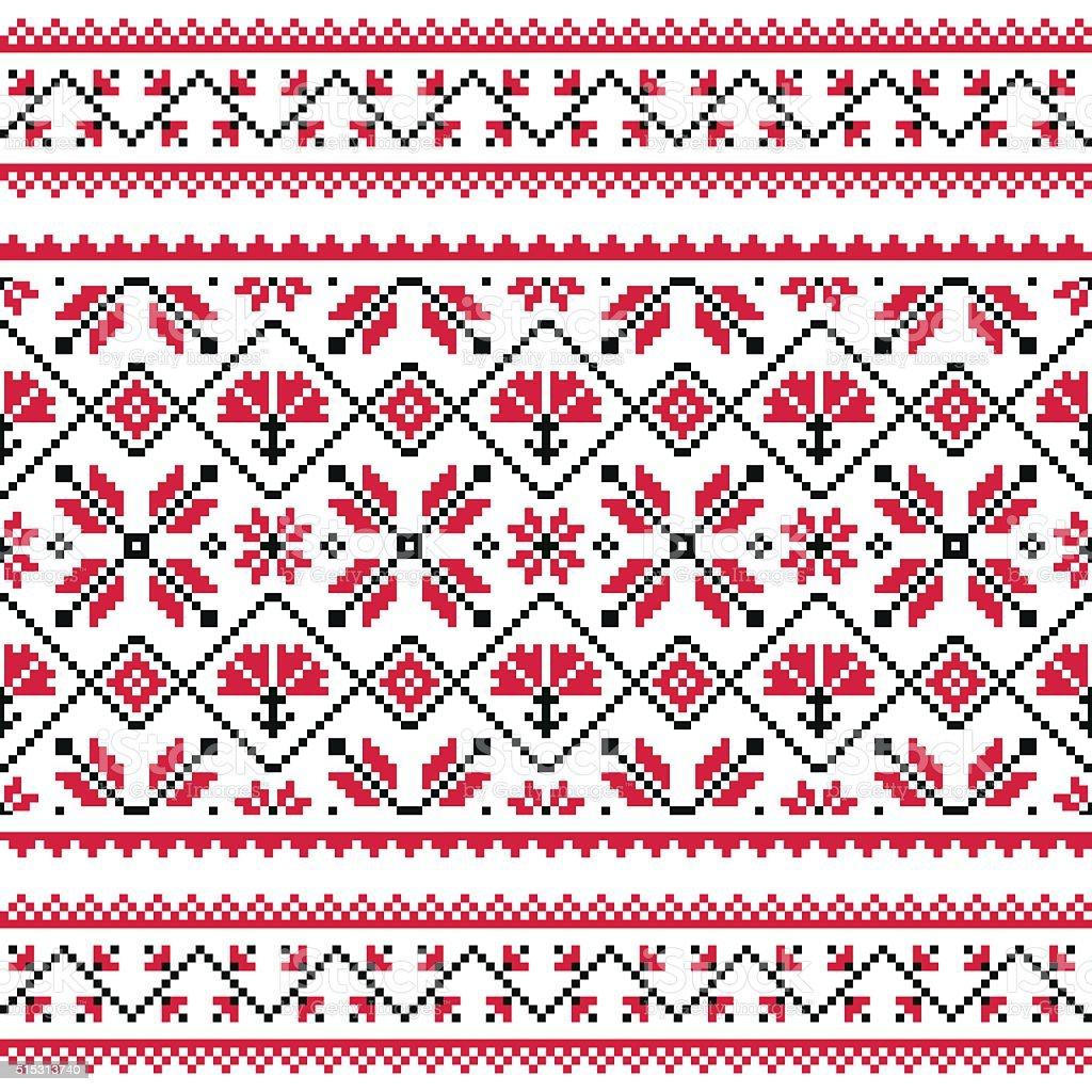Ukrainian, Slavic folk knitted red emboidery pattern or print vector art illustration