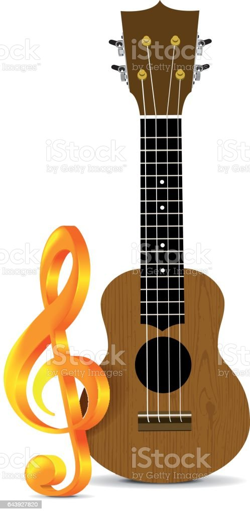 Ukulele vector illustration on white backgroiund vector art illustration