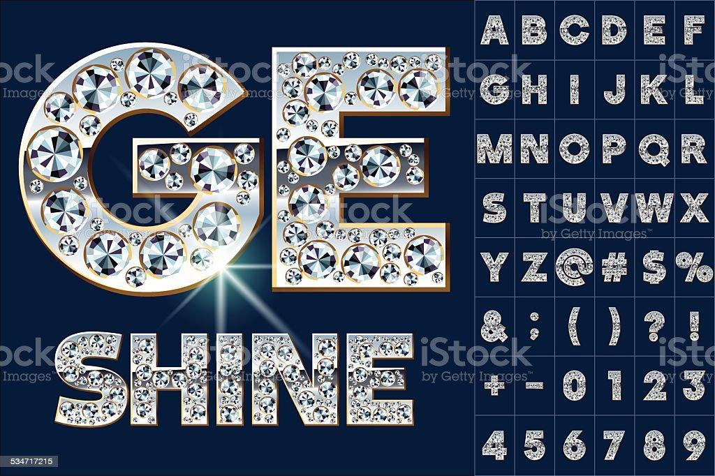 Ultimate alphabet of diamonds and platinum ingot vector art illustration