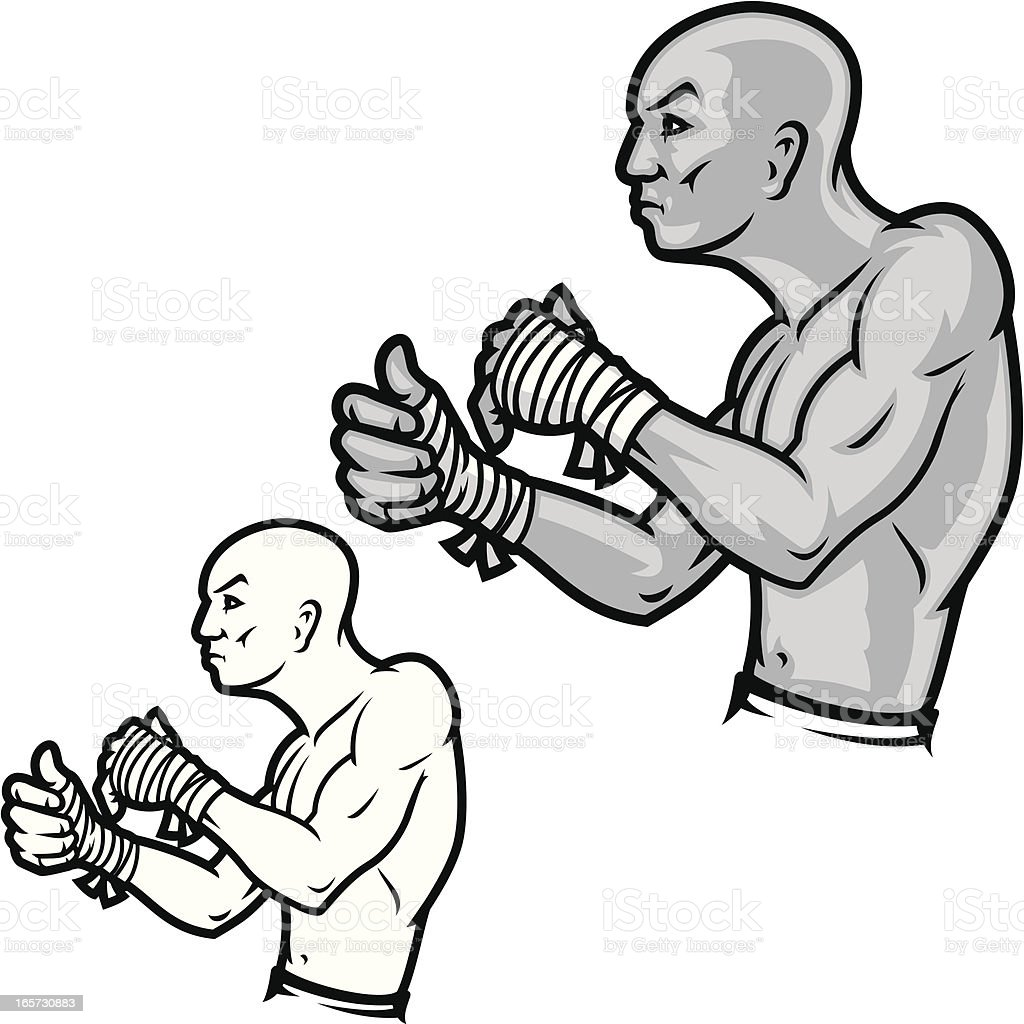 Ultimate Cage Fighter B&W royalty-free stock vector art