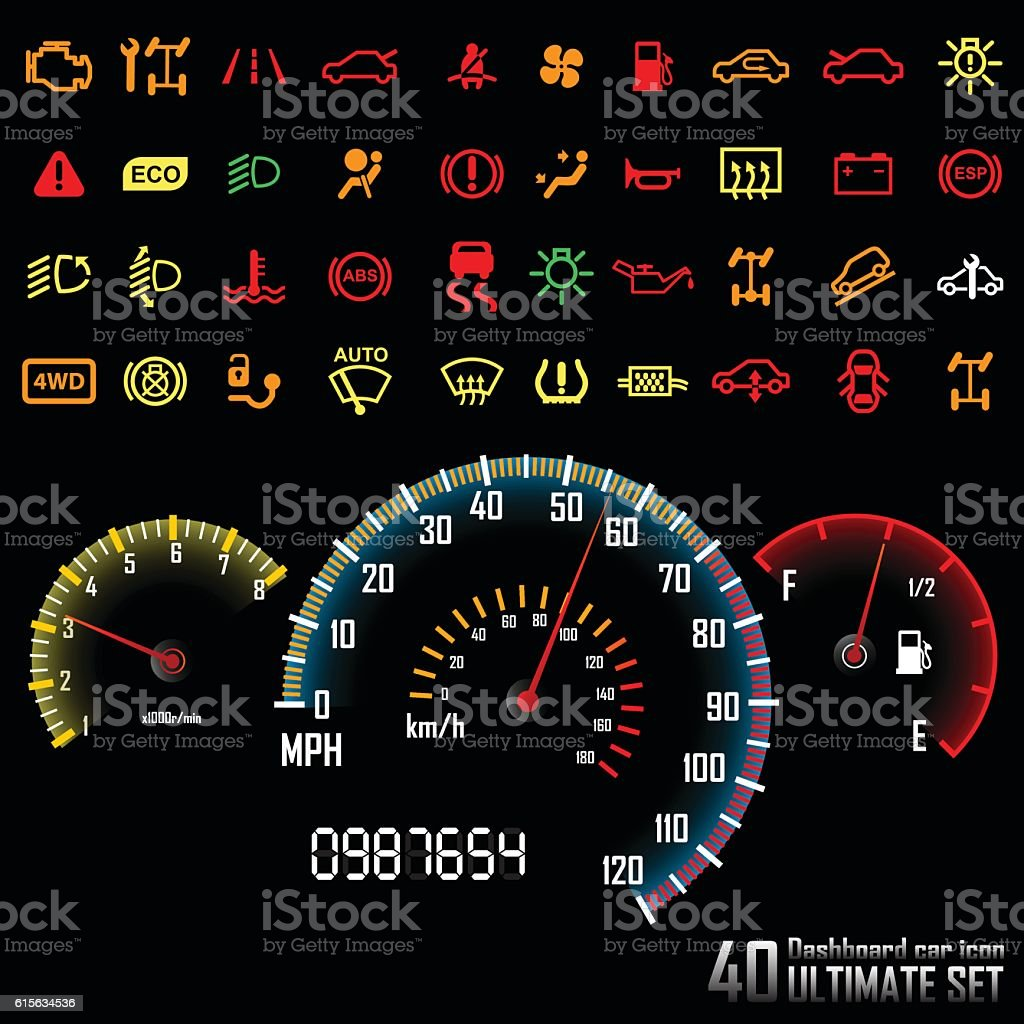 Ultimate Dashboard  Icons Stock Vector Art  IStock - Car image sign of dashboard