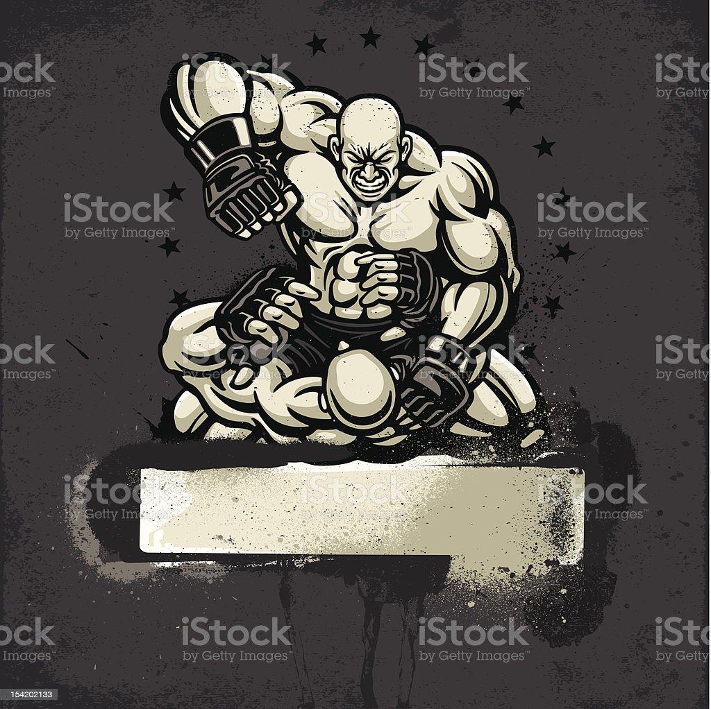 Ultimate Fighter Punching Opponent: Grunge Frame Version royalty-free stock vector art