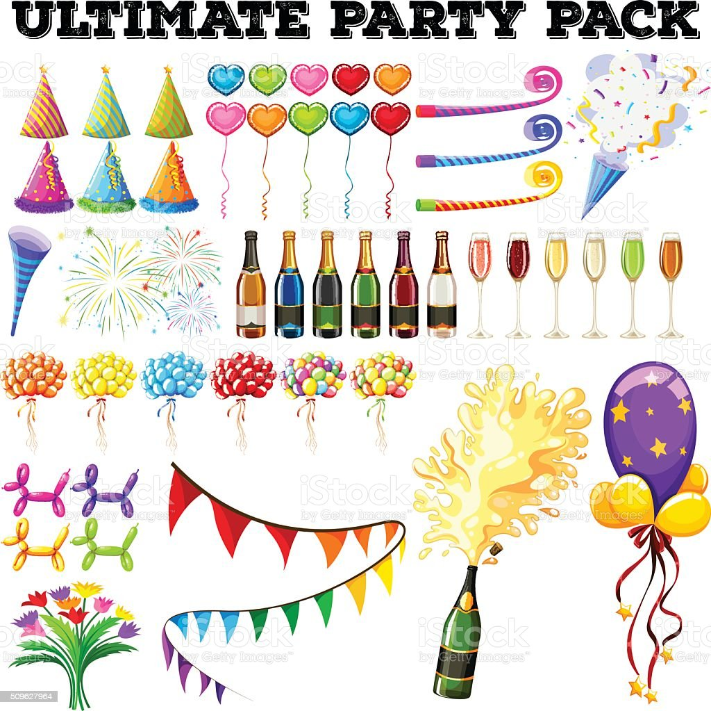 Ultimate party pack with many ornaments vector art illustration