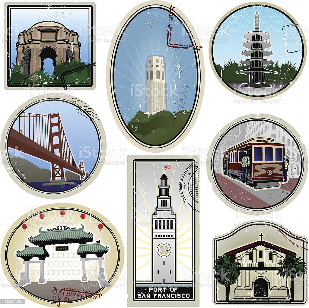 Ultra stylized San Francisco retro suitcase style travel stickers royalty-free stock vector art