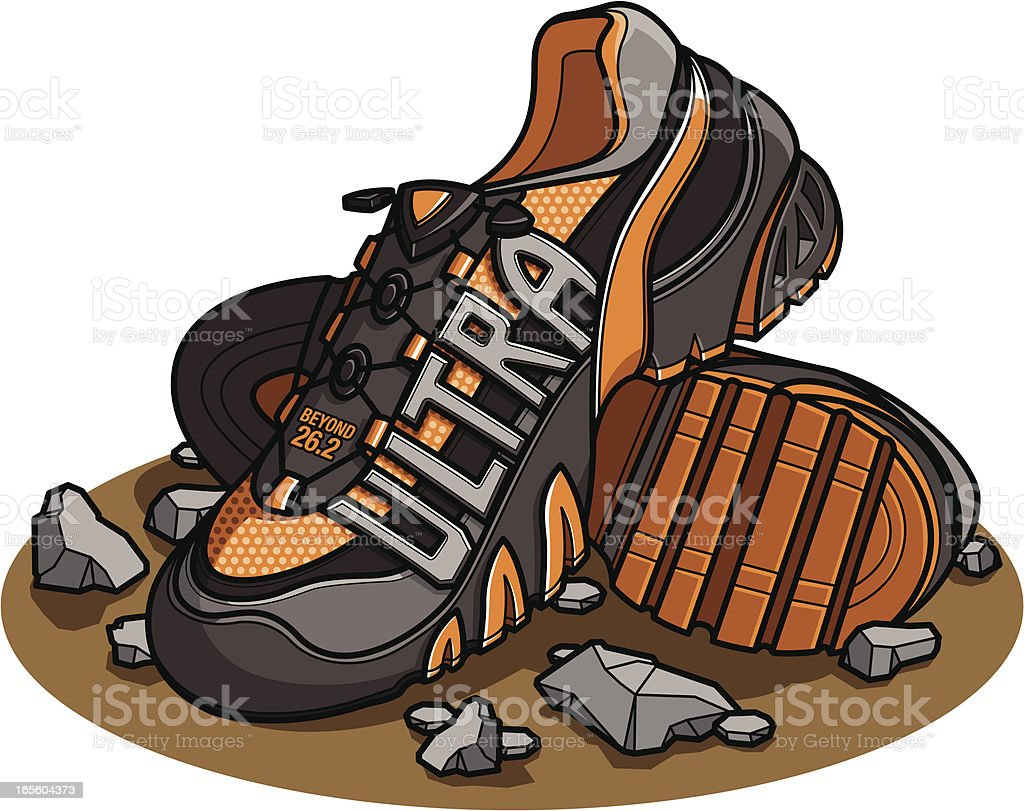 ultra trail running shoes royalty-free stock vector art