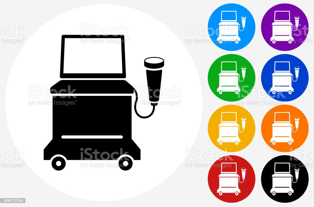 Ultrasound Machine Icon on Flat Color Circle Buttons vector art illustration