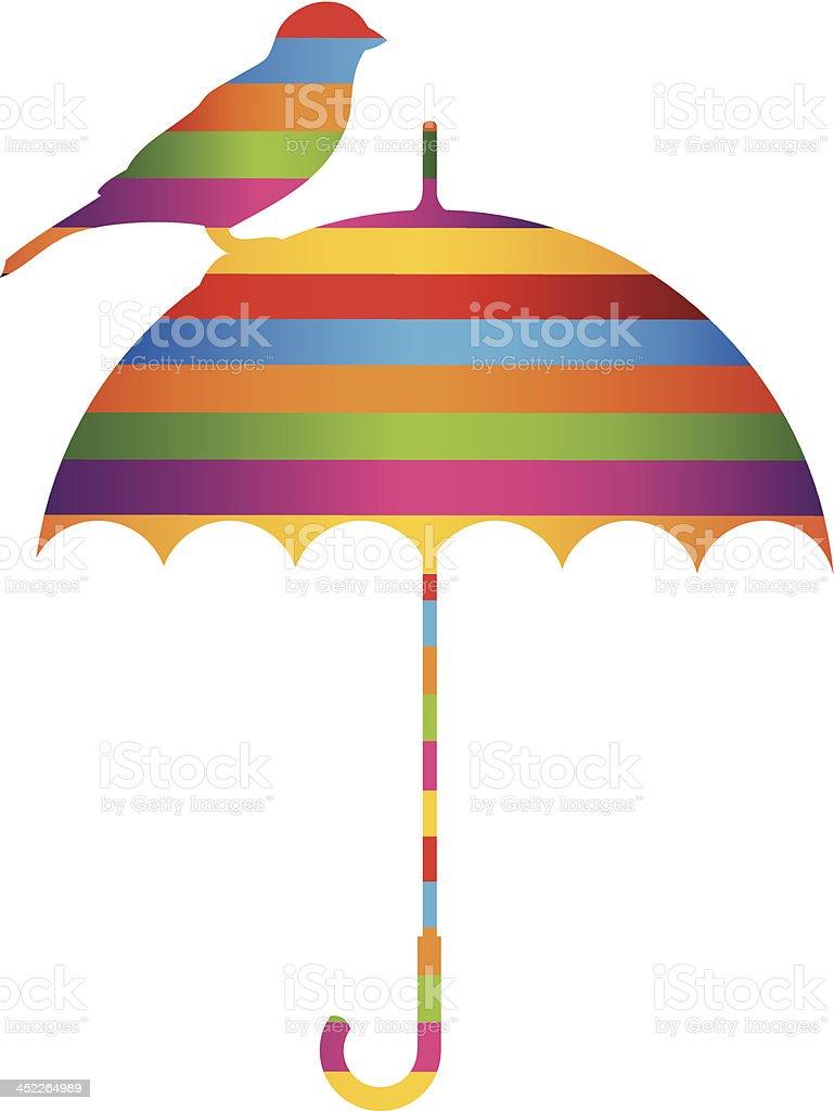 Umbrella and bird royalty-free stock vector art