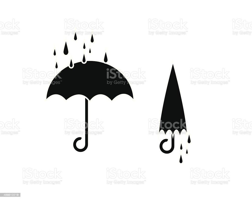 Umbrella and rain drop , silhouettes vector on white vector art illustration