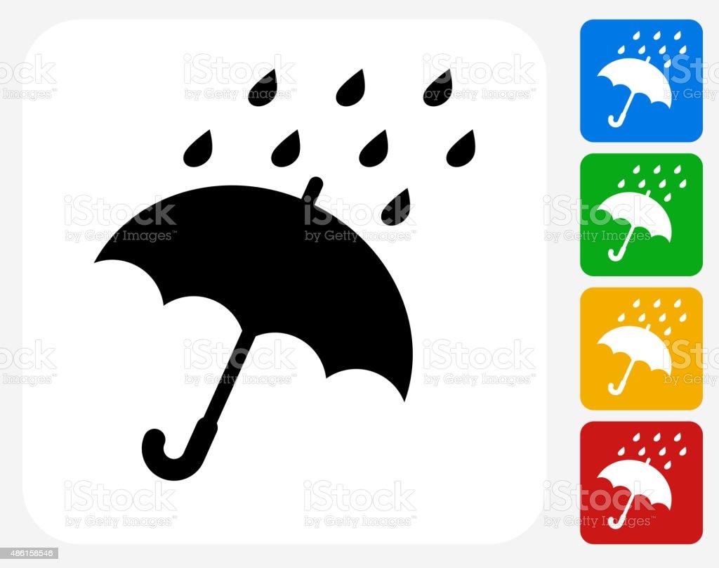 Umbrella and Rain Icon Flat Graphic Design vector art illustration