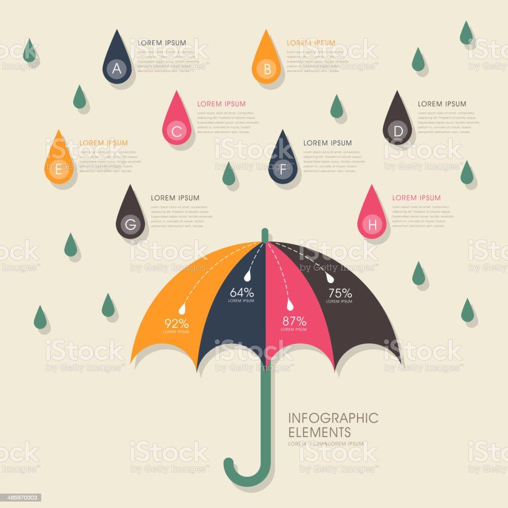 umbrella and rain infographics design vector art illustration