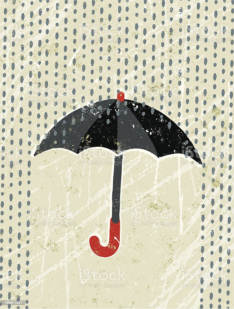 Umbrella and Rain royalty-free stock vector art
