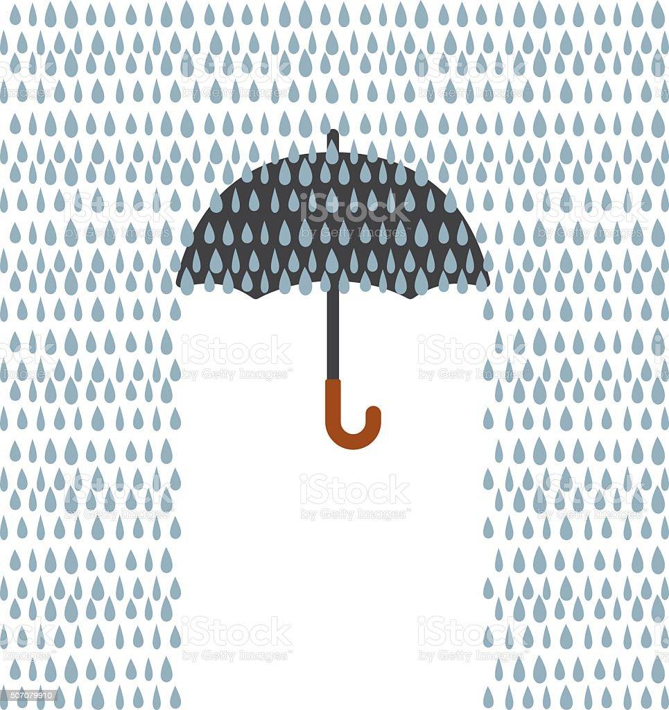 Umbrella and Rain vector art illustration