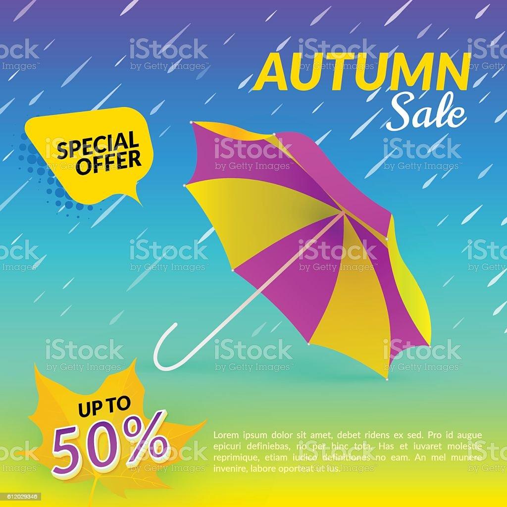 Umbrella. Autumn sale. Vector illustration with bright background vector art illustration