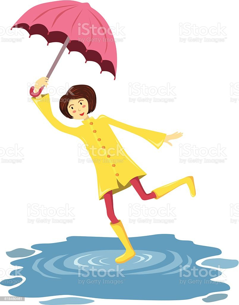 Umbrella Girl vector art illustration
