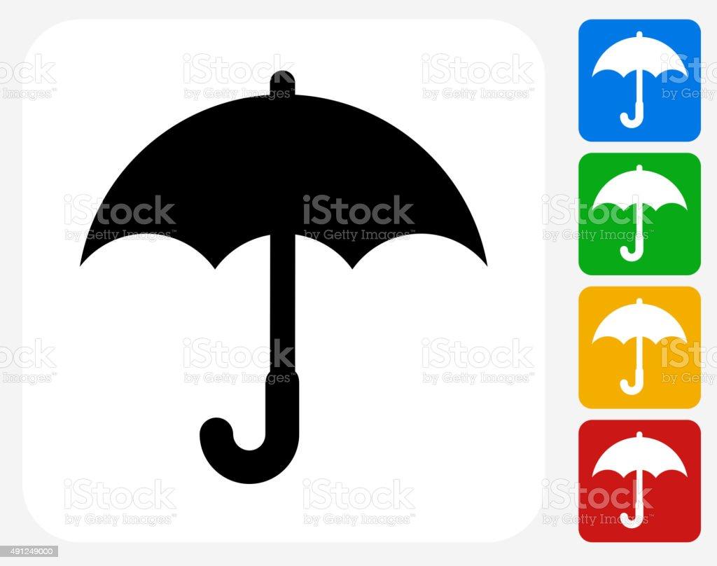 Umbrella Icon Flat Graphic Design vector art illustration