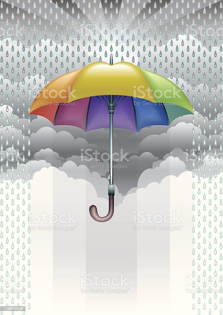 Umbrella in the Rain royalty-free stock vector art