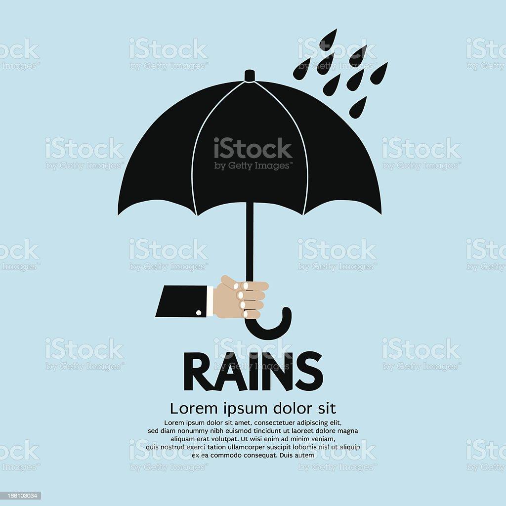 Umbrella in The Rain. vector art illustration