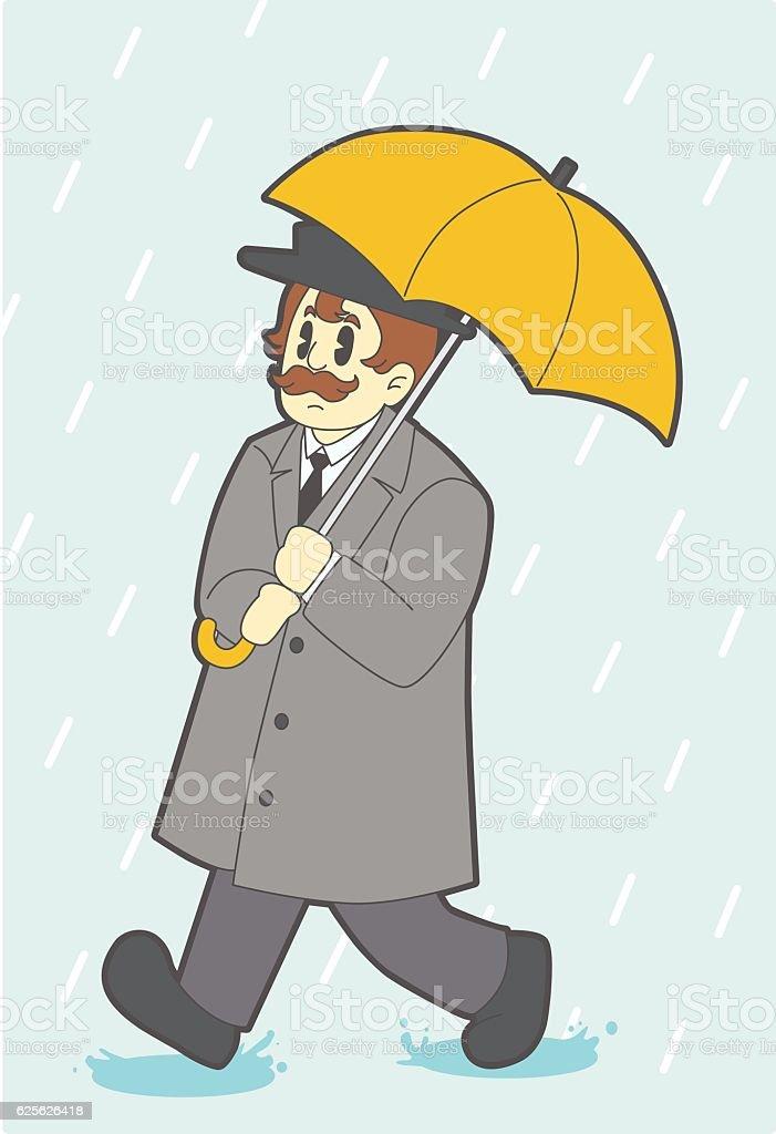 umbrella man vector art illustration