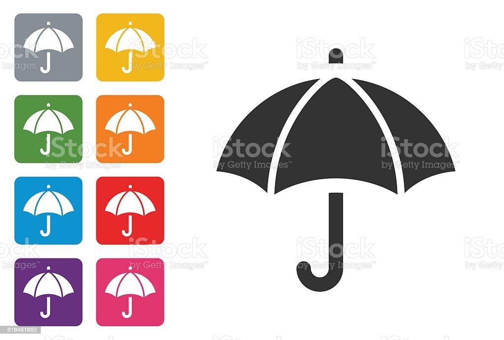 Umbrella on colored button vector art illustration