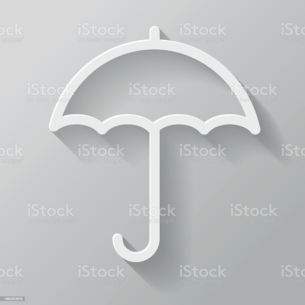 Umbrella Paper Thin Line Interface Icon With Long Shadow vector art illustration