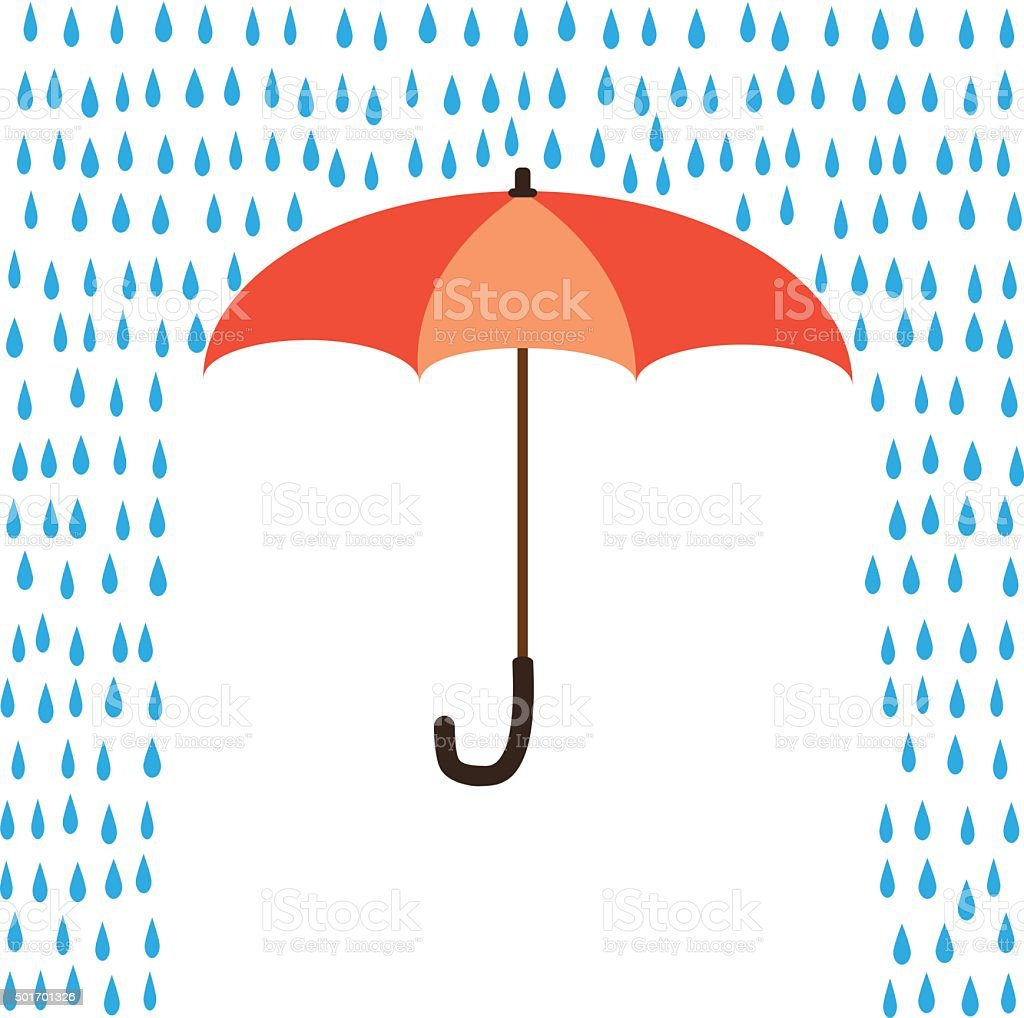 Umbrella protection from rain vector art illustration