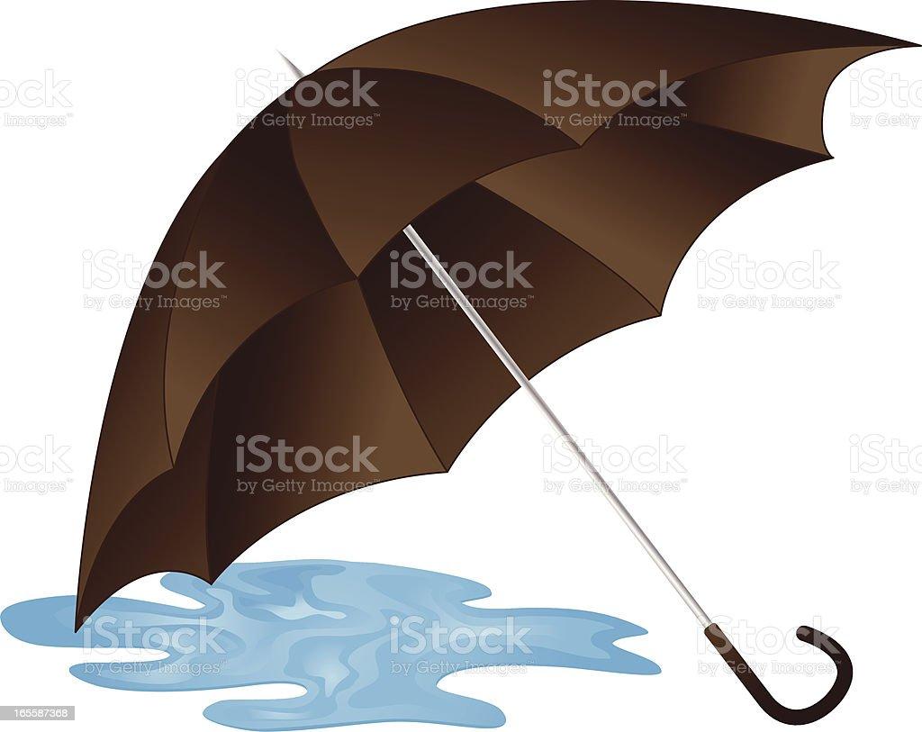 Umbrella Puddle vector art illustration