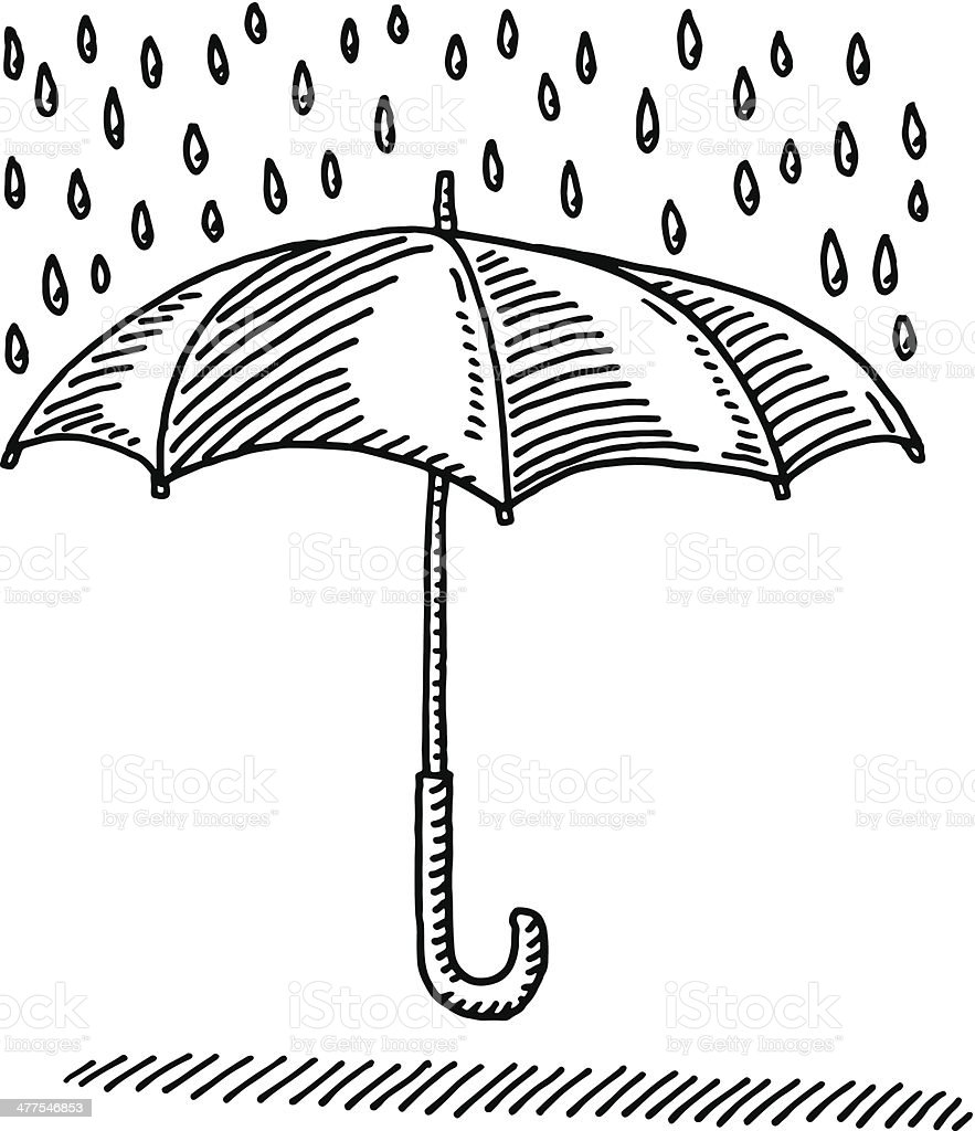 Umbrella Rain Protection Symbol Drawing vector art illustration