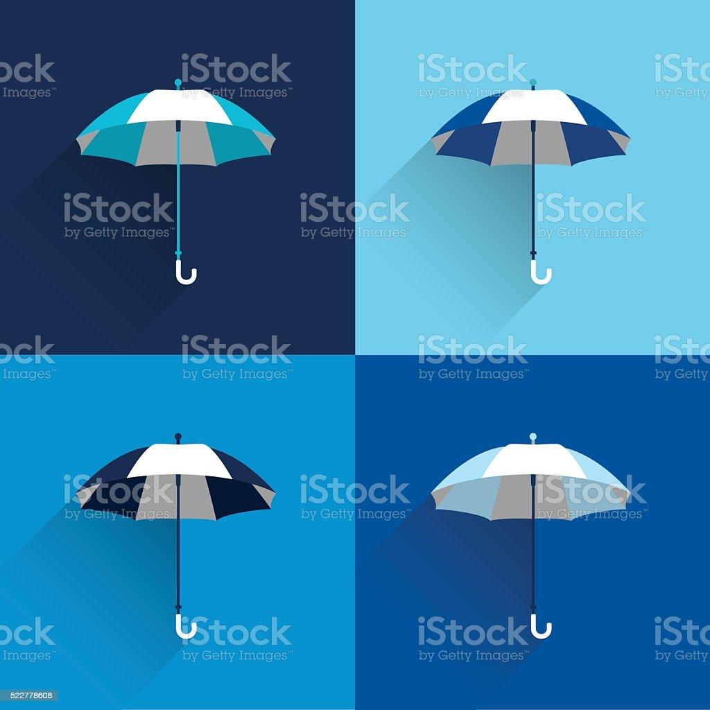 Umbrella sign. Flat vector sign. Various blue color parasol. vector art illustration