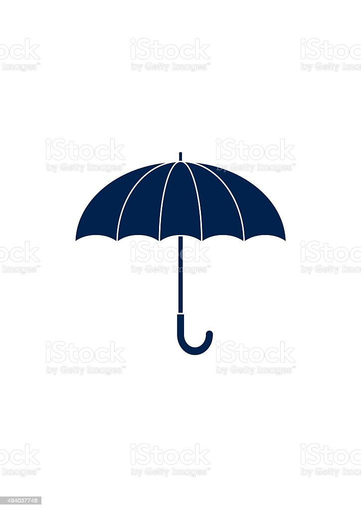 Umbrella sign Icon. Flat design style. vector art illustration