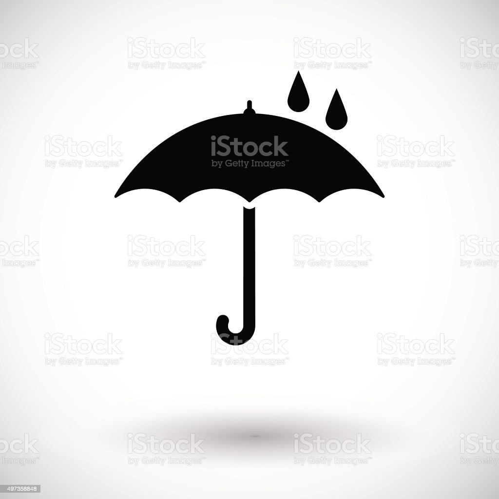 Umbrella with drop vector art illustration