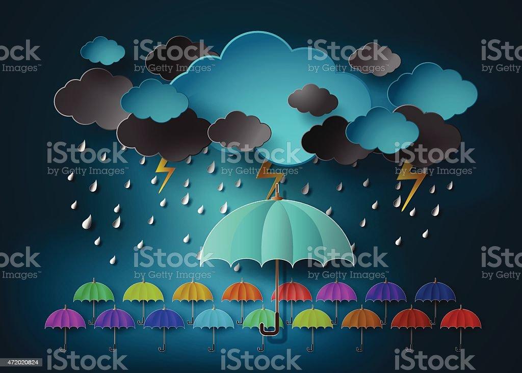 umbrella with heavy fall rain in the dark sky vector art illustration