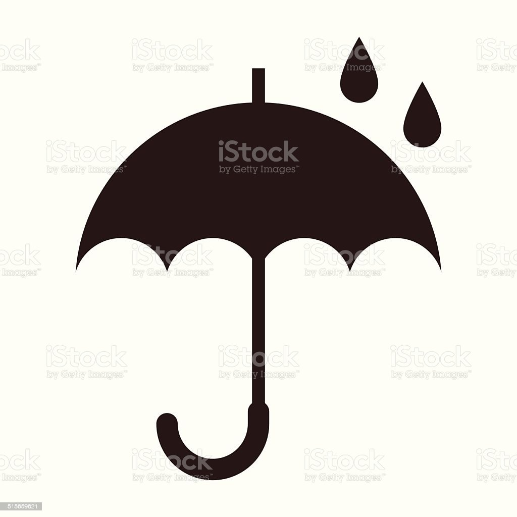 Umbrella with rain drops vector art illustration