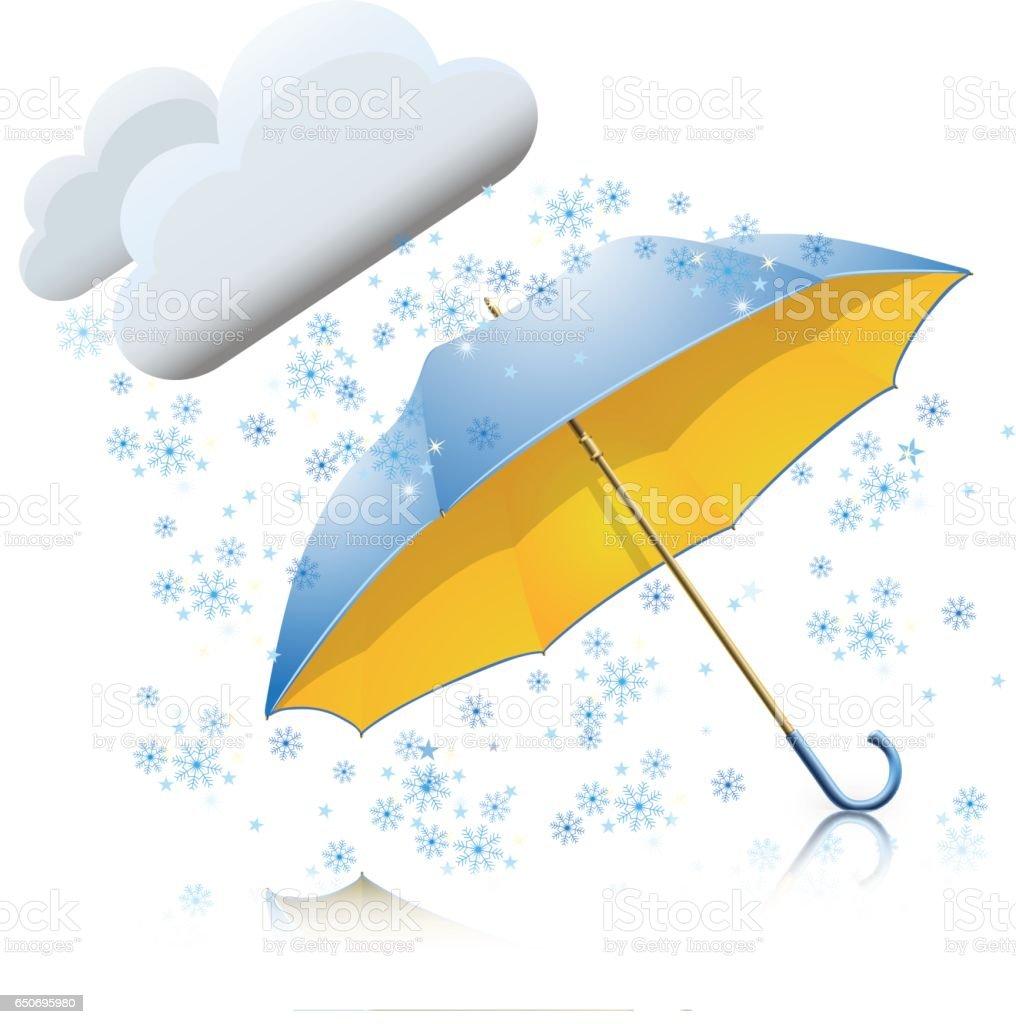 umbrella with snow vector art illustration