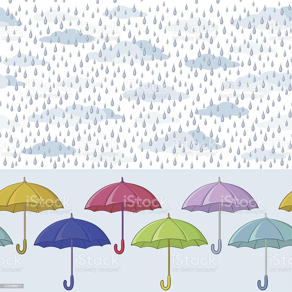 Umbrellas and rain, seamless background royalty-free stock vector art