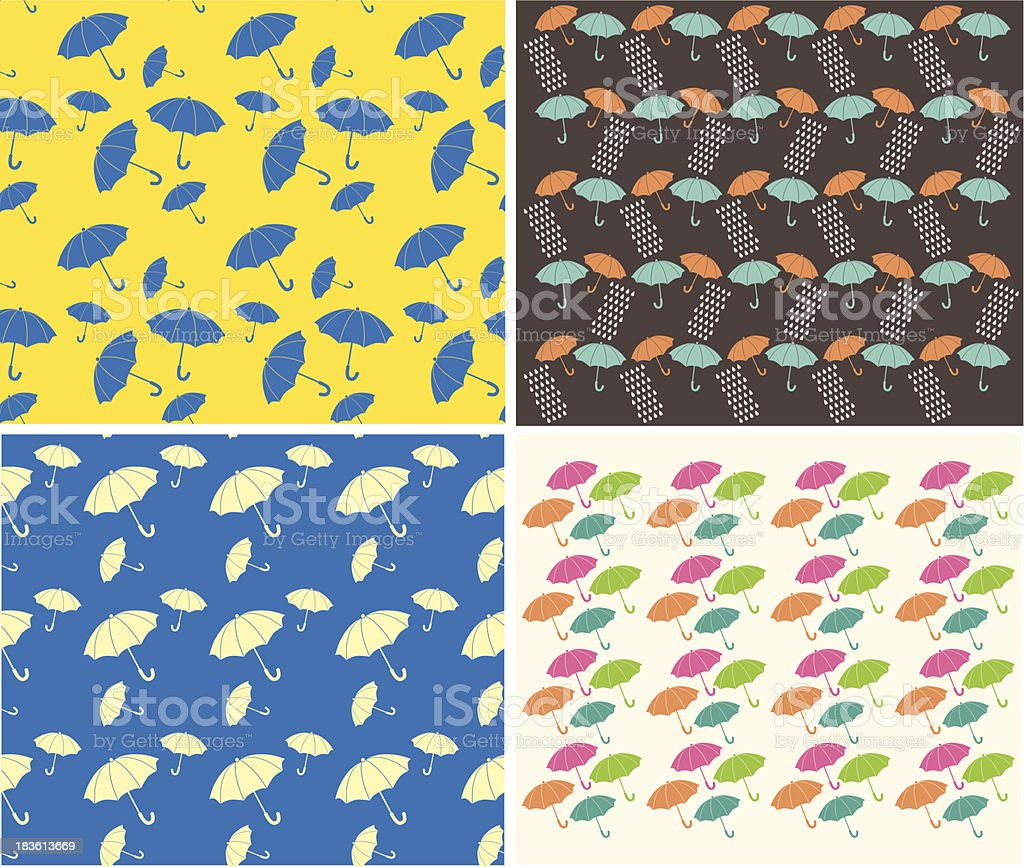 Umbrellas and raindrops seamless background royalty-free stock vector art