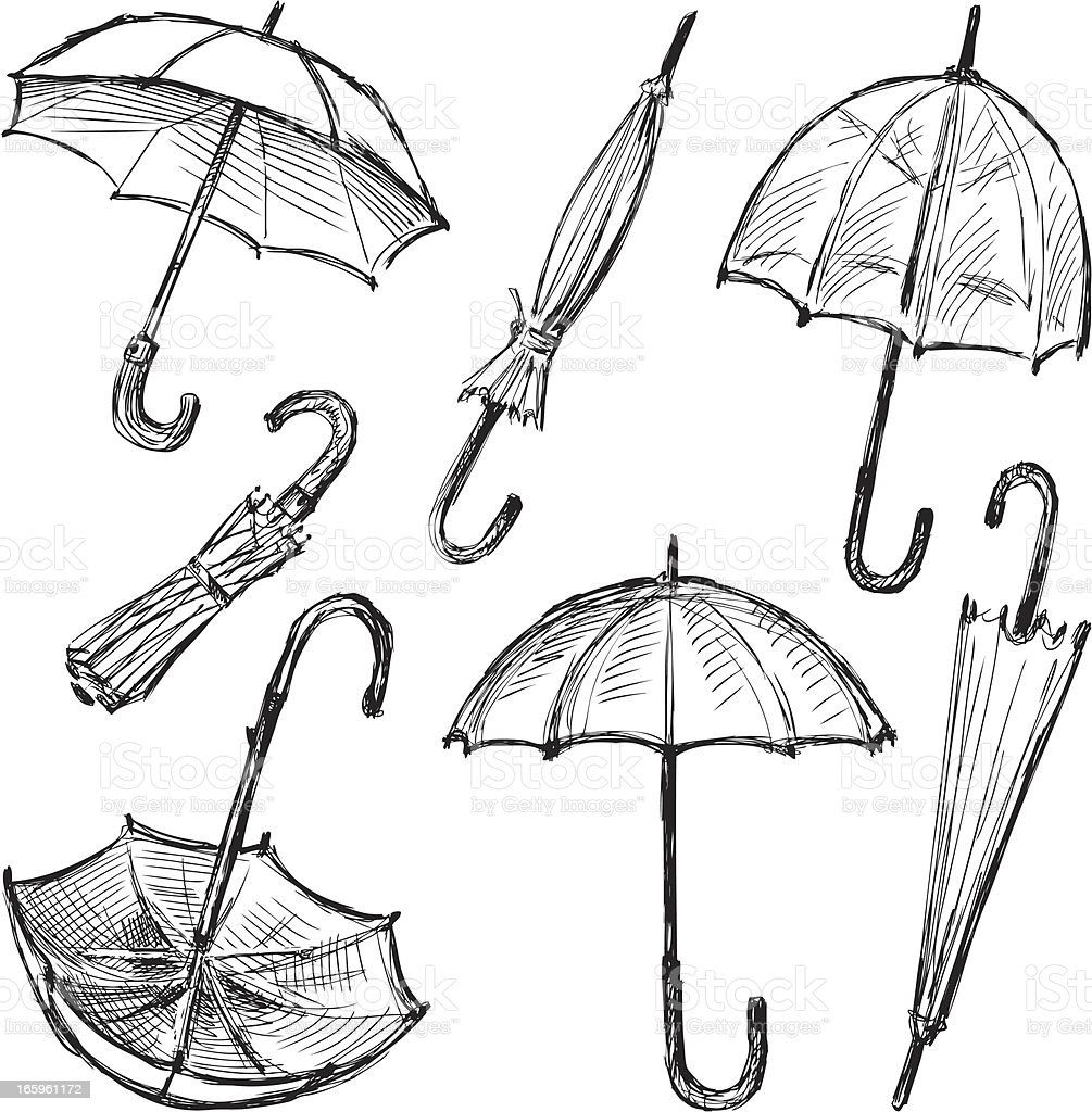 Umbrellas vector art illustration