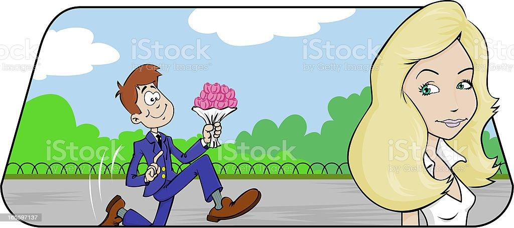 Un inconnu vous offre des fleurs ! royalty-free stock vector art