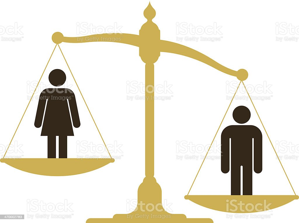 Unbalanced scale with a man and woman vector art illustration