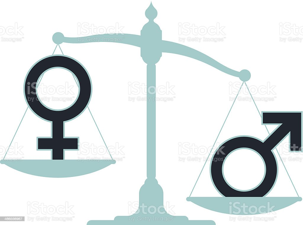 Unbalanced scale with male and female icons vector art illustration