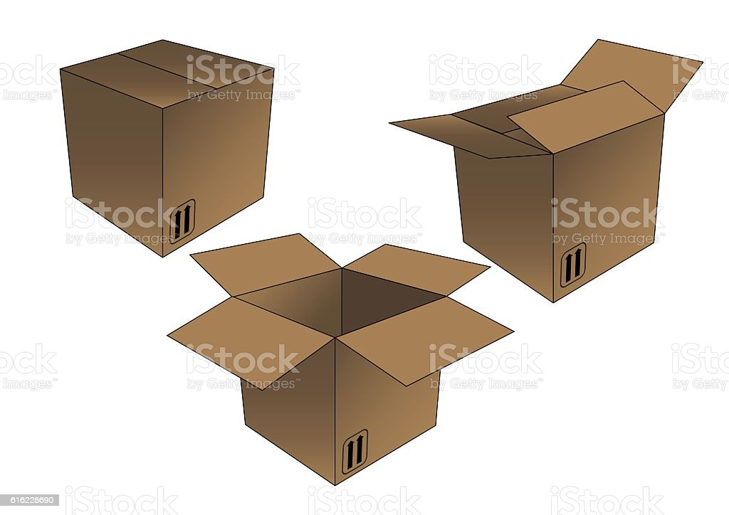 unboxing secuence brown cardboard box vector art illustration