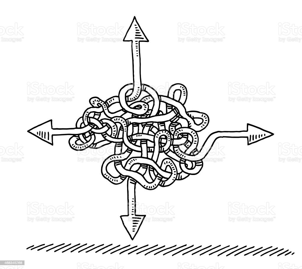 Uncertainty Direction Arrows Concept Drawing vector art illustration