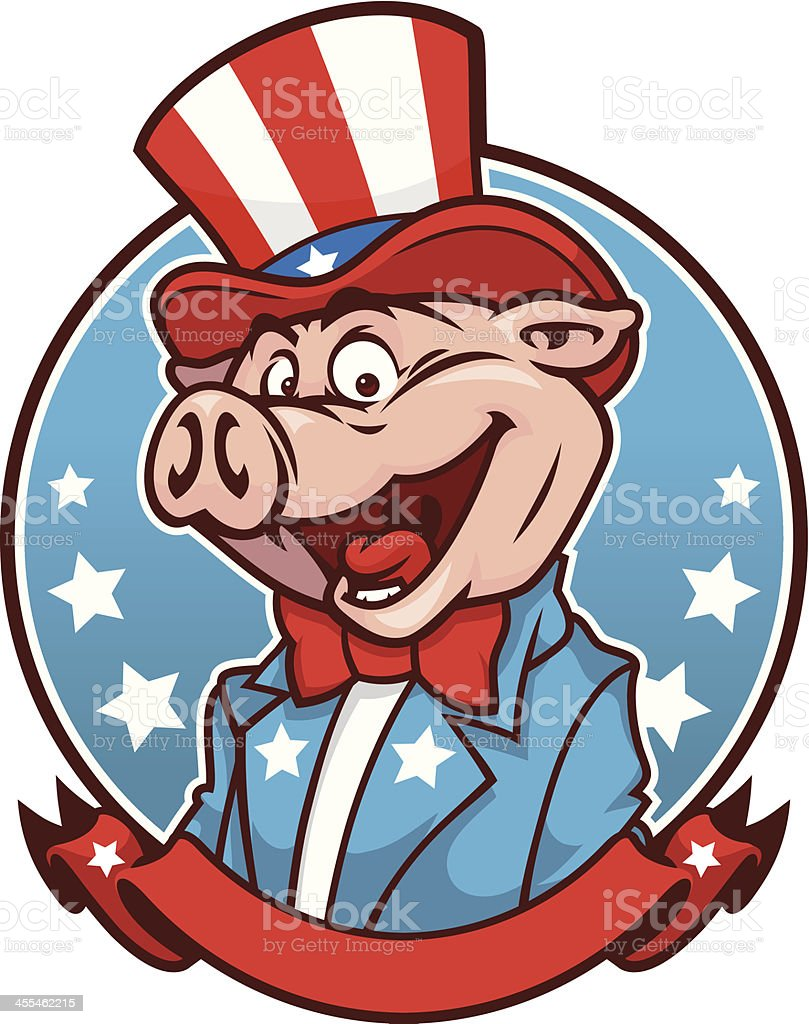 Uncle Sam BBQ Pig royalty-free stock vector art