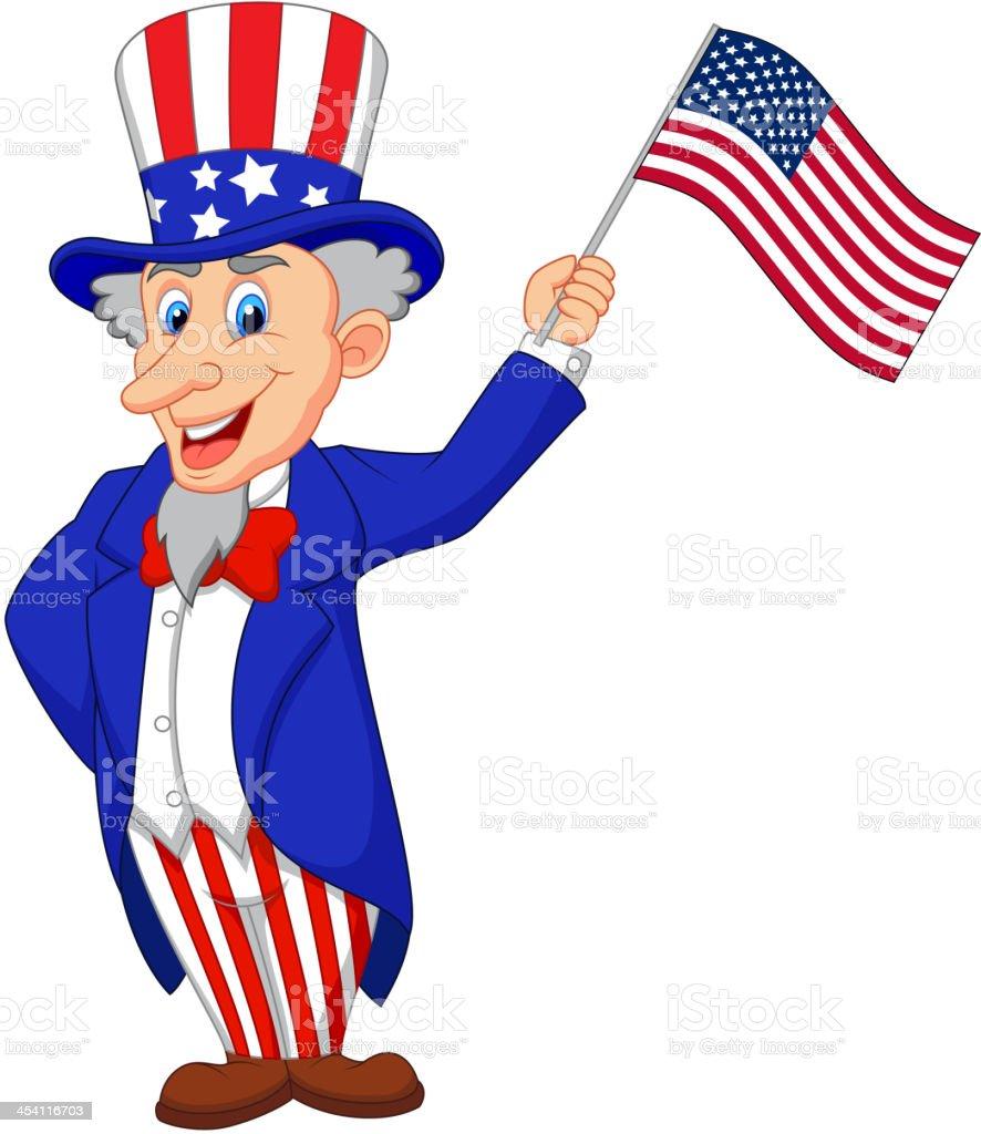 Uncle Sam cartoon holding American flag vector art illustration