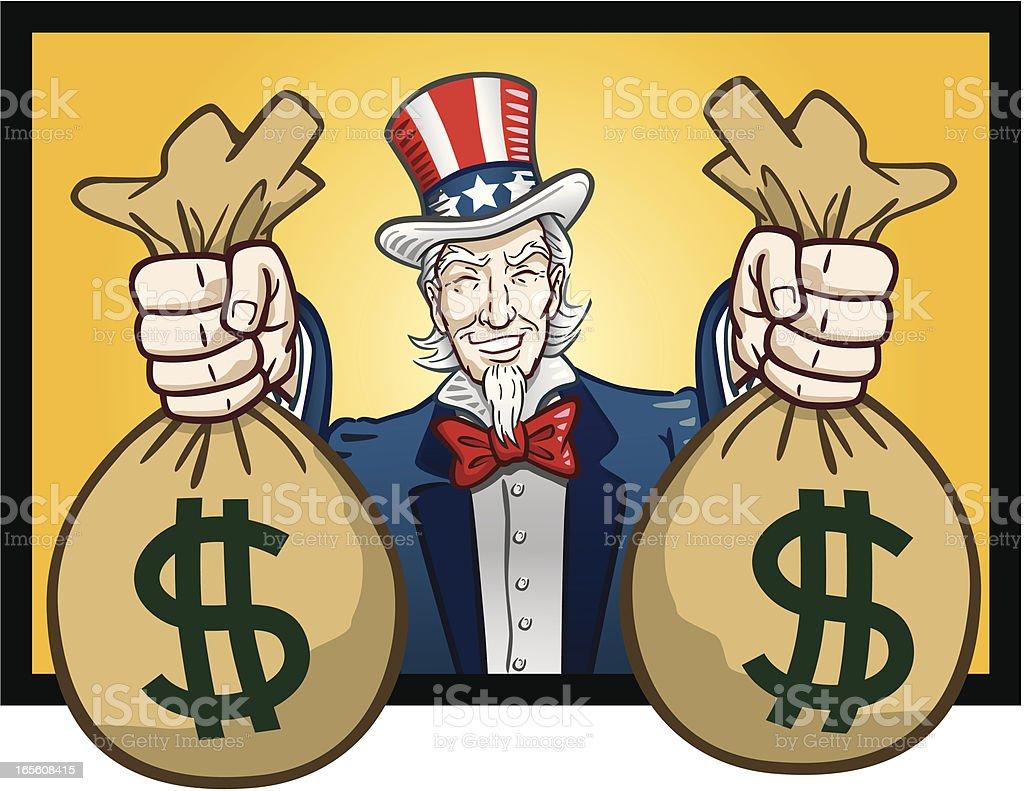 Uncle Sam Giving Cash vector art illustration