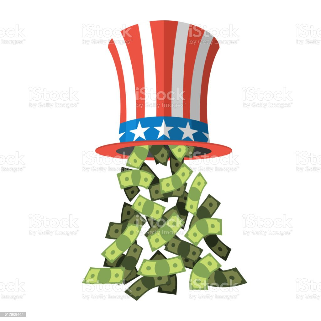 Uncle Sam hat and money. American hat. Hat  independence day vector art illustration