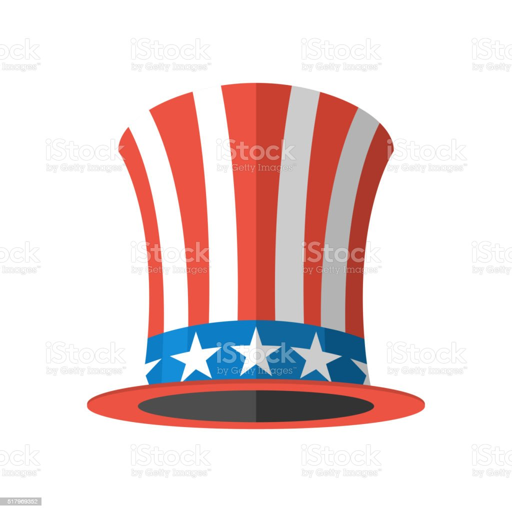 Uncle Sam hat on white background. Cylinder Uncle Sam USA vector art illustration